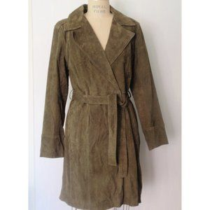 FOREVER 21 OLIVE GREEN SUEDE TRENCH COAT L
